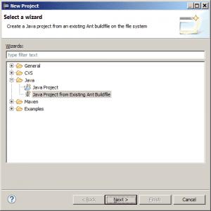 Eclipse - okno tworzenia nowego projektu z plikiem budowania aplikacji Apache Ant
