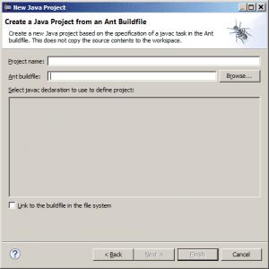 Eclipse - okno importu projektu z plikiem budowania aplikacji Apache Ant