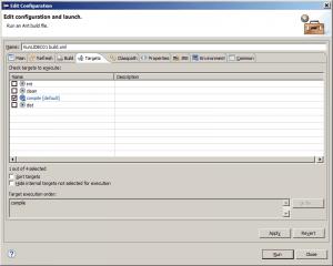 Eclipse - okno konfiguracji dla pliku budowania aplikacji Apache Ant