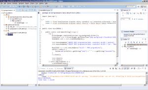Eclipse - ekran główny z wynikami kompilacji projektu przy użyciu Apache Ant